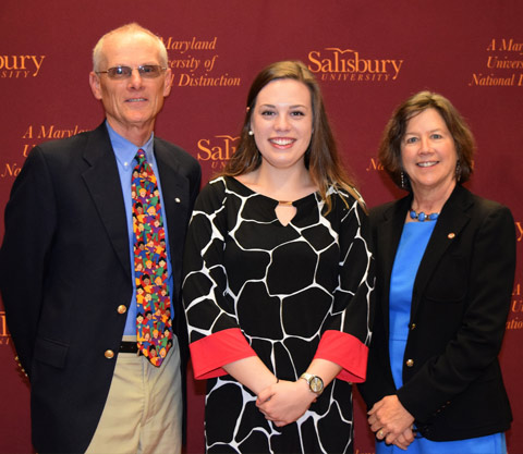 Dr. Jon Andes of the Education Specialties Department and Dr. Laurie Andes of the Teacher Education Department and senior Brianne White